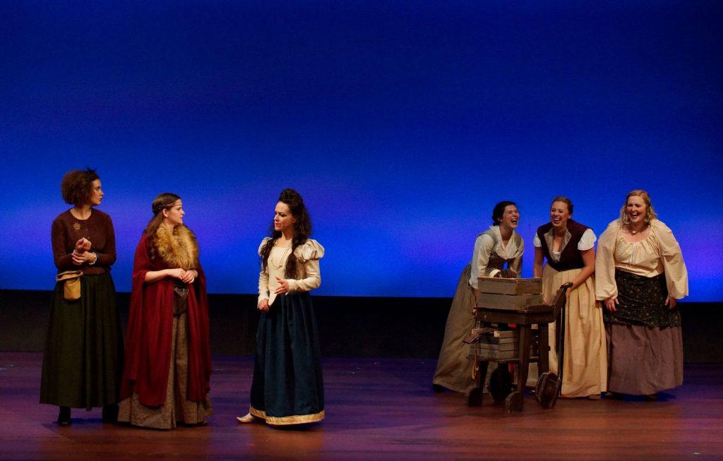 """Rosencrantz and Guildenstern are Dead"" performers Brooke Bruce, Lis Hatfield, Rachel FInan, Andi Courtade, Demy Marti, and Amanda Stevenson."