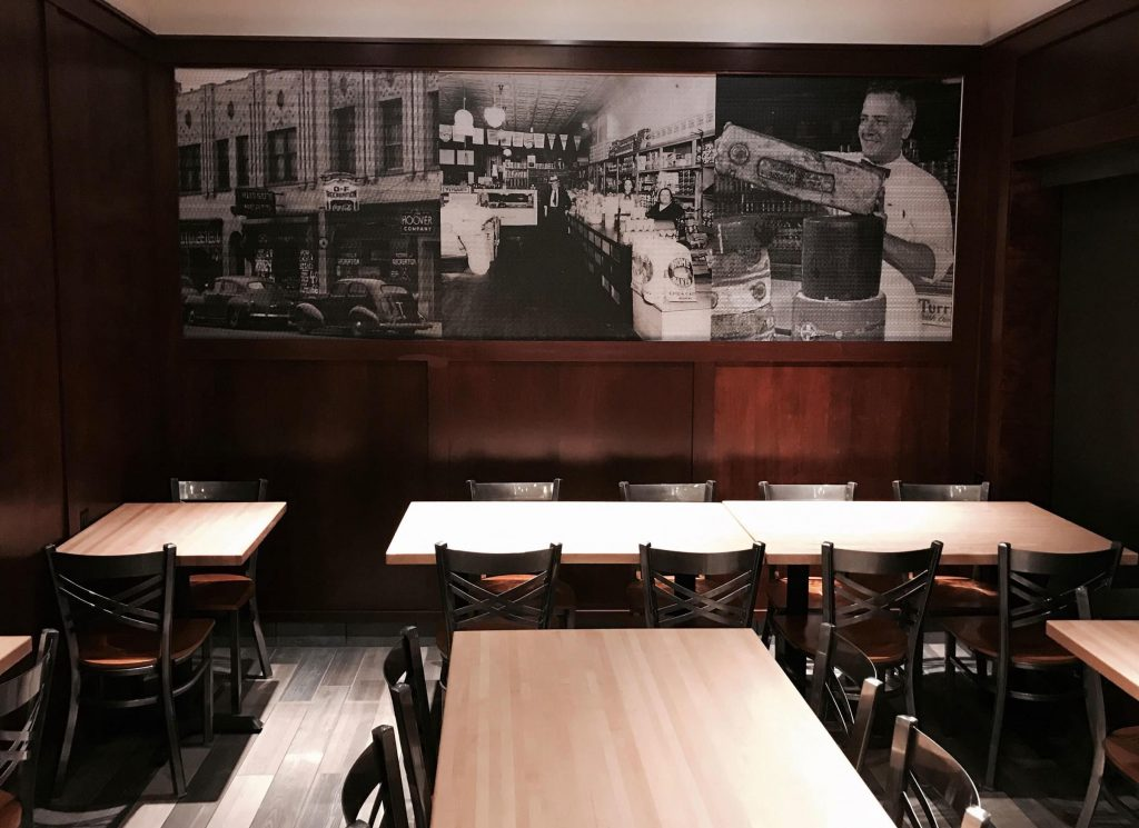 Russo's downtown location offers a dine in menu with seating to accommodate lunch and dinner visitors.