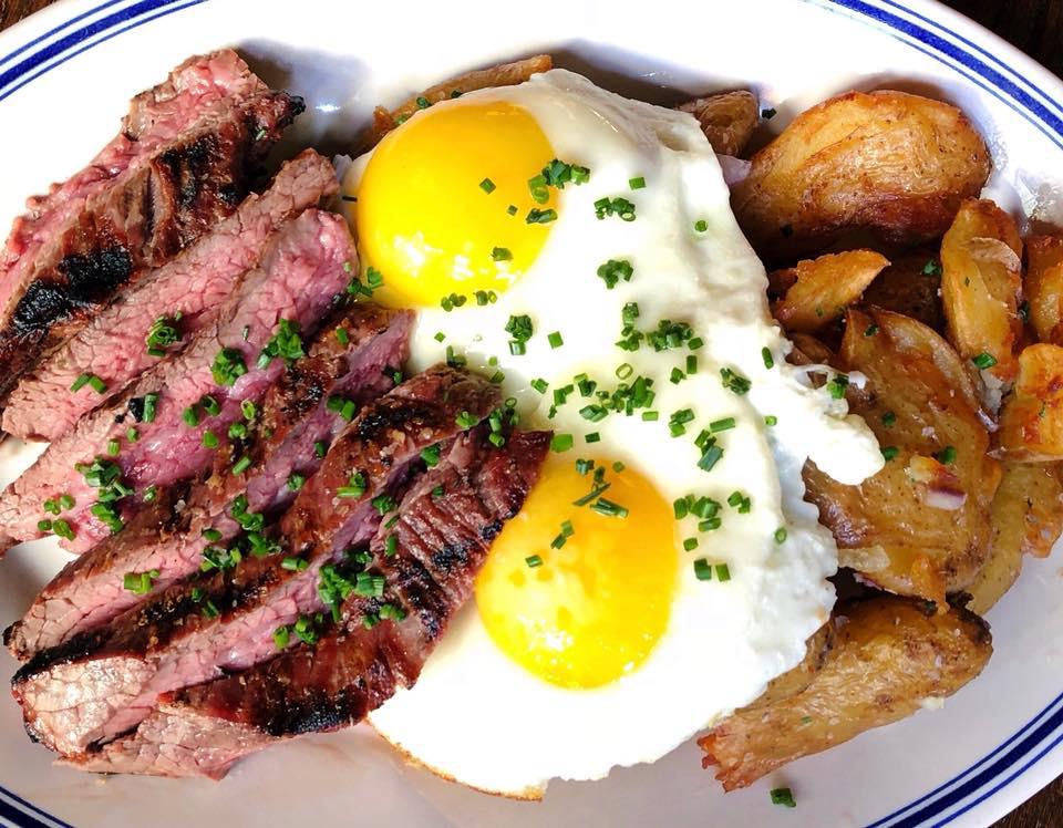 Butcher's Union brunch, charred flank steak, fried egg, breakfast potatoes.