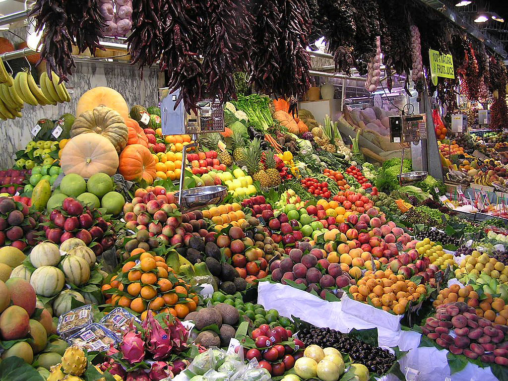 Fruit on display at La Boqueria market in Barcelona. Photo by Dungodung