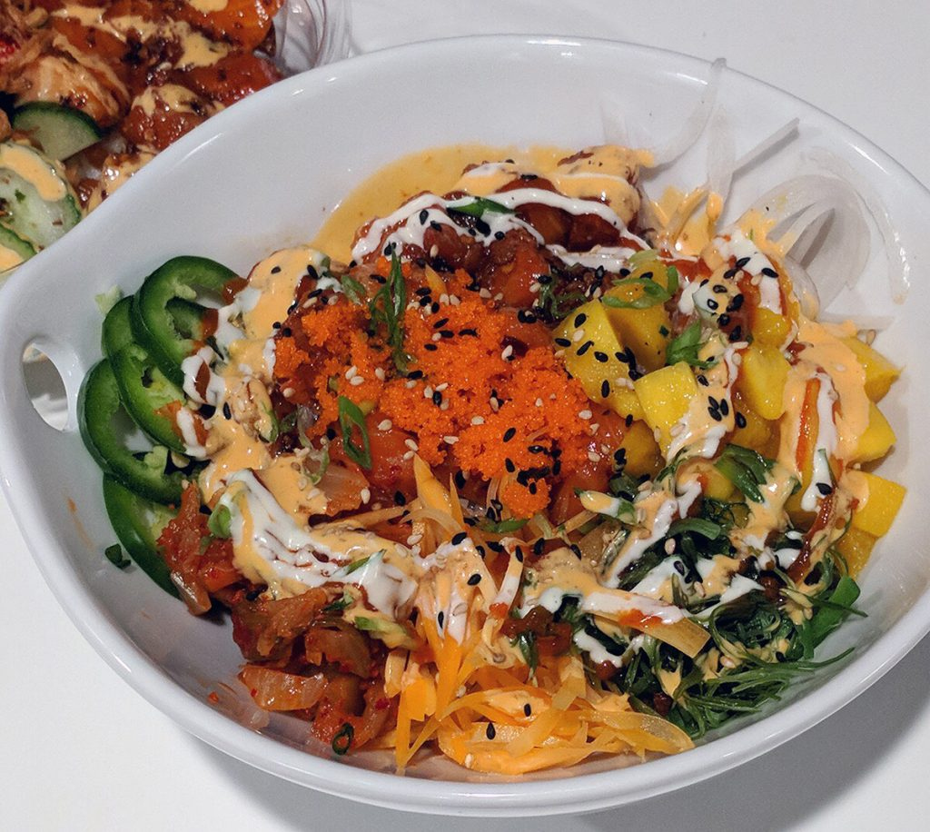 Wikiwiki Poke's menu includes a variety of poke bowls and the option to customize your order.
