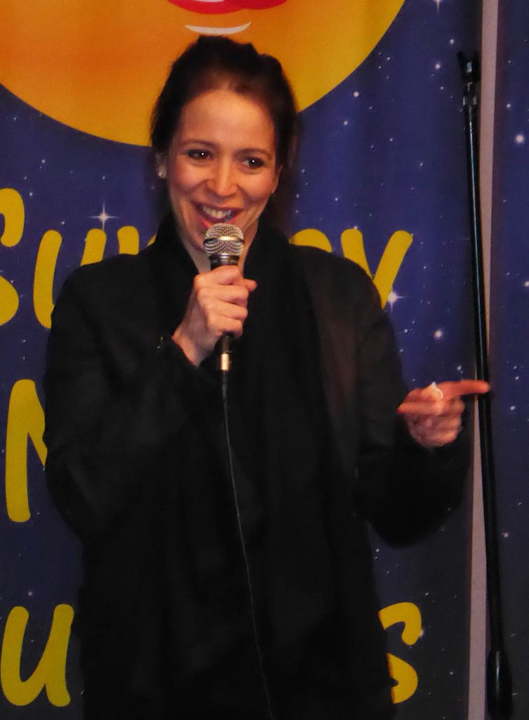 Nicole Majdali Ramirez performing at Sunday Night Funnies