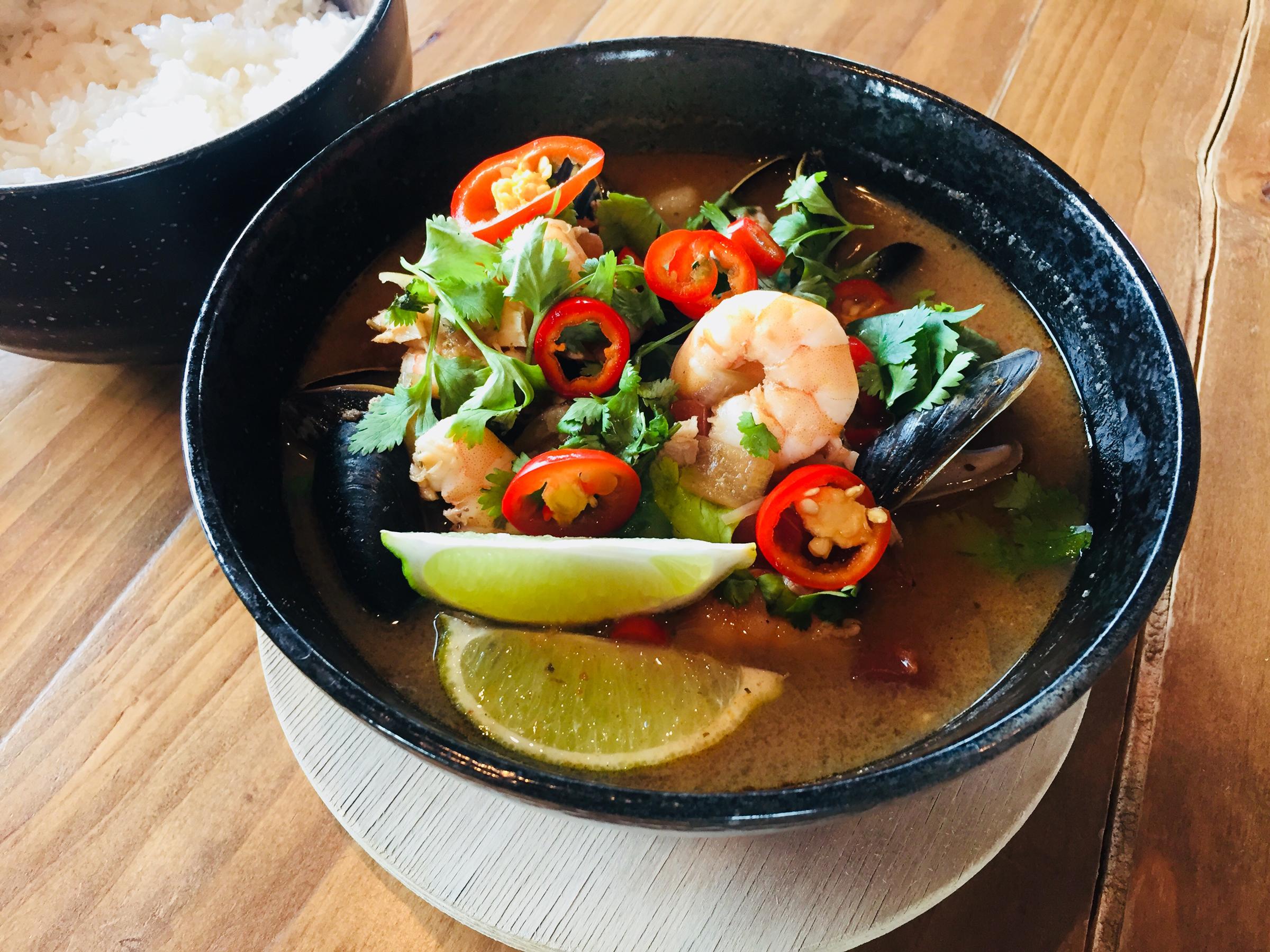 Ecuadorian Coconut Seafood Stew at Rockford Brewing Co.