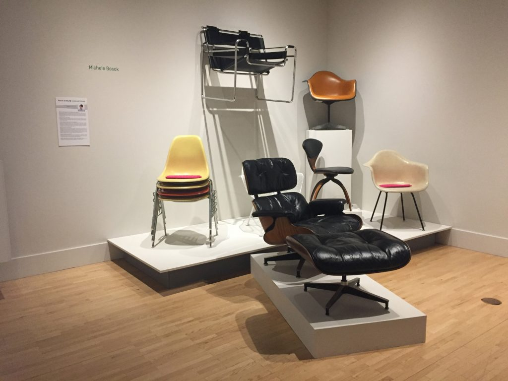 Michele Bosak, curator of exhibitions at KCAD, has her collection of mid-century chairs on display.