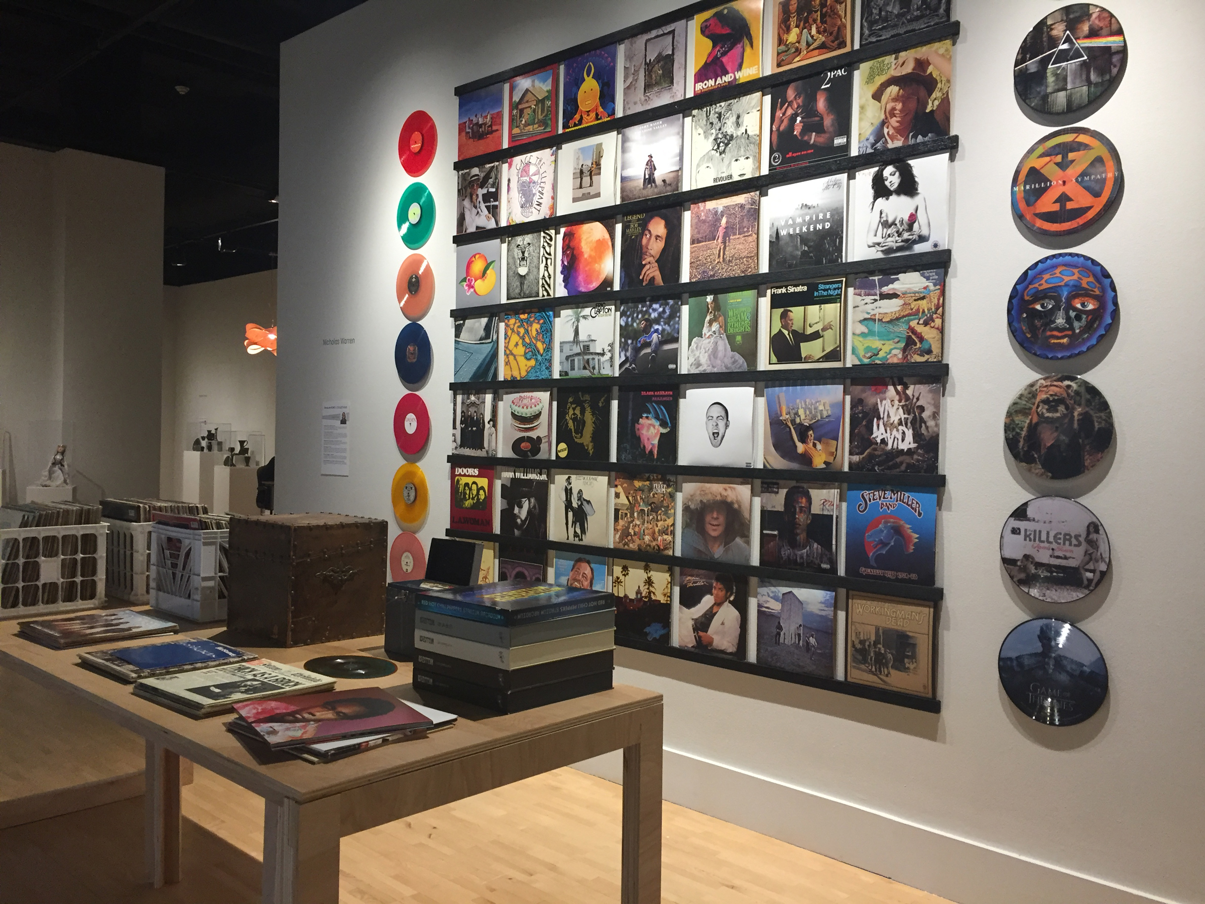 Vinyl collection on display at Kendall College of Art & Design's Fed Galleries.