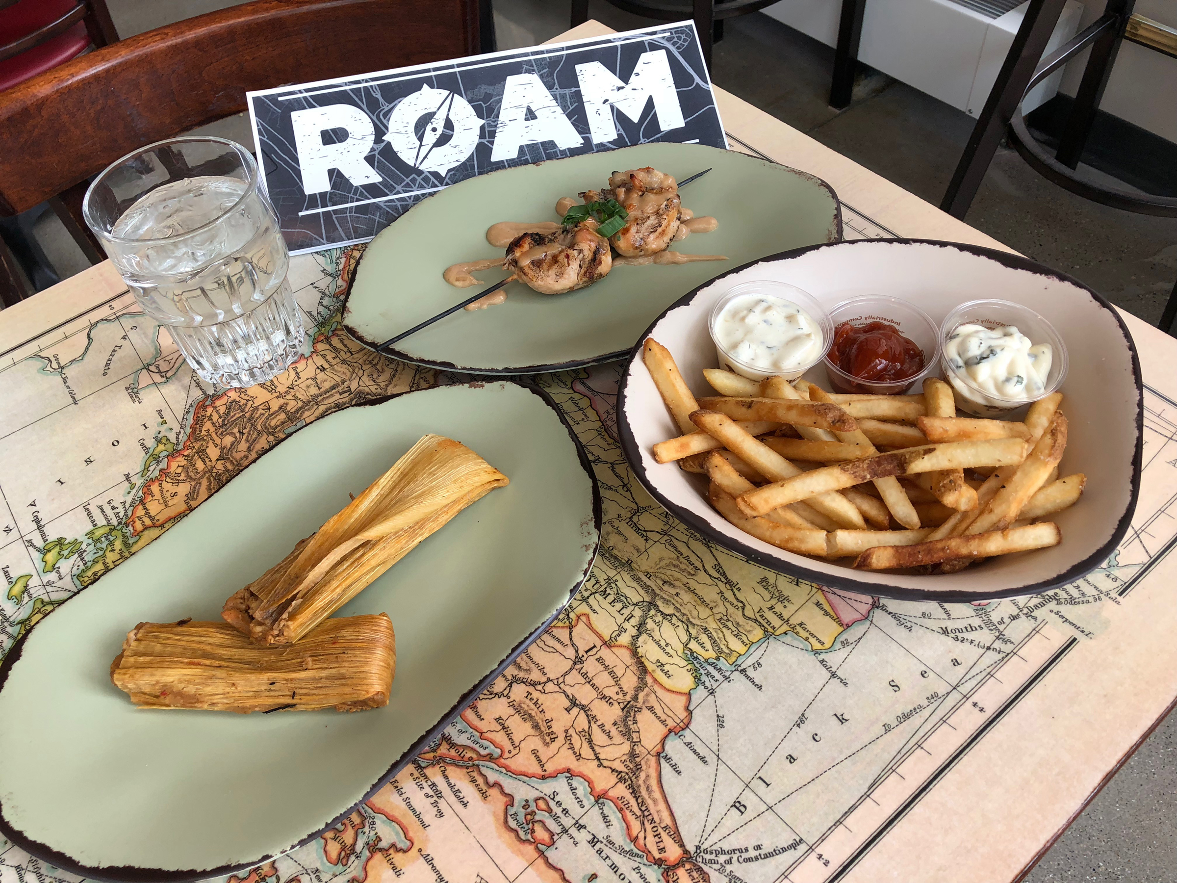 Roam's satay, tamales and chips 'n dips.