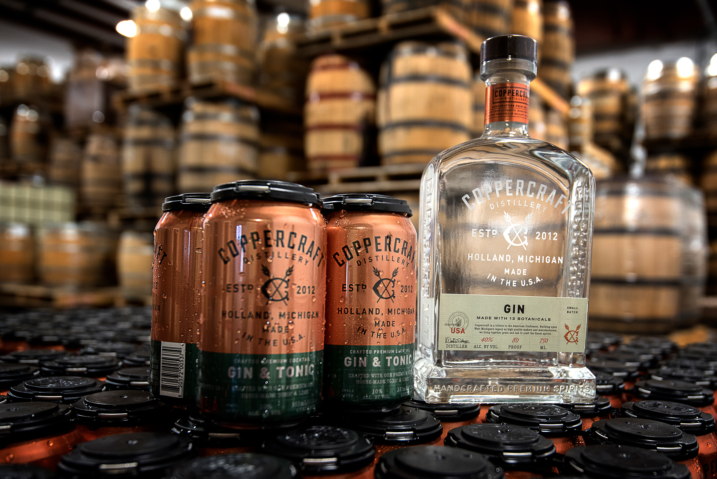 Coppercraft gin & tonic beverages.