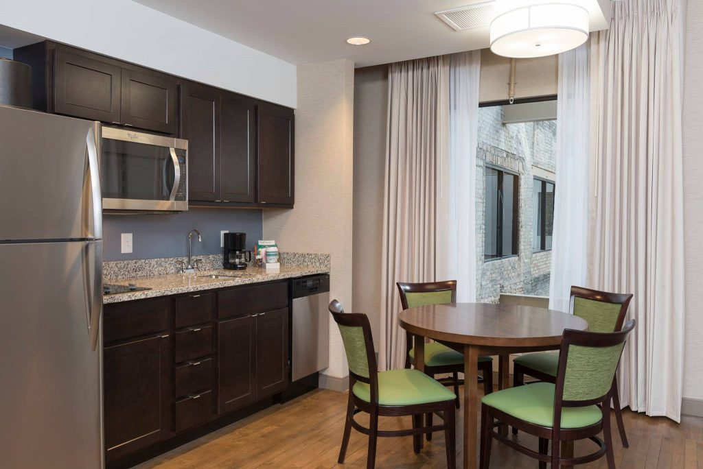 The Homewood Suites offers guest in room kitchens.