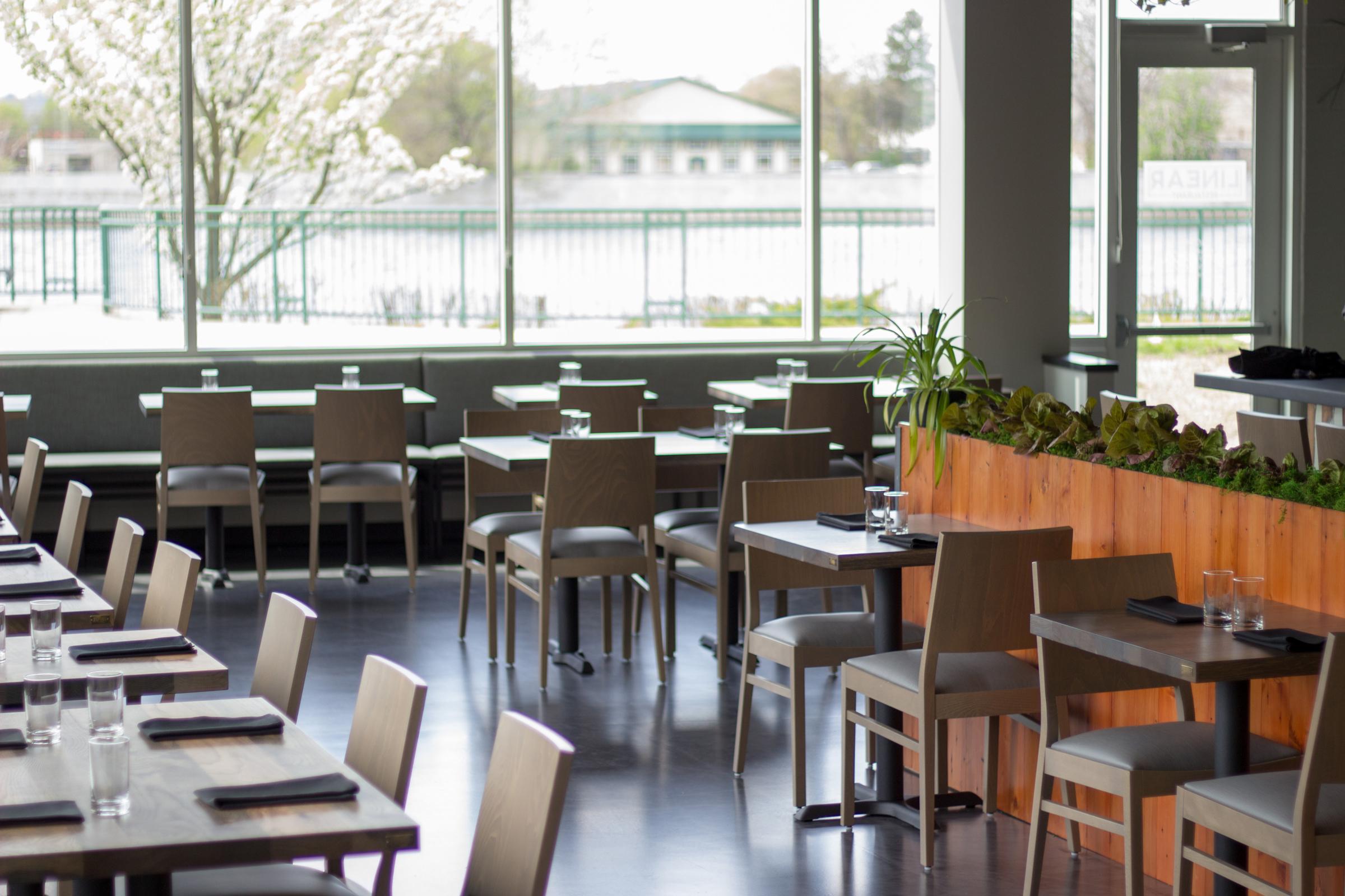 Linear restaurant dining room