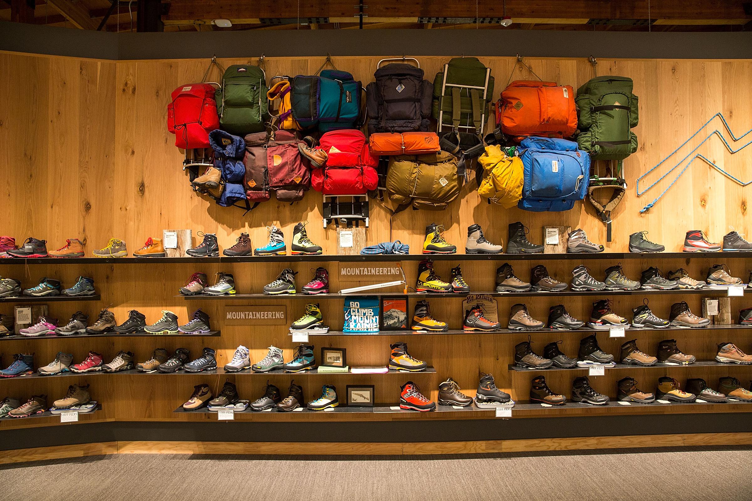 REI Seattle Flagship Footwear Wall