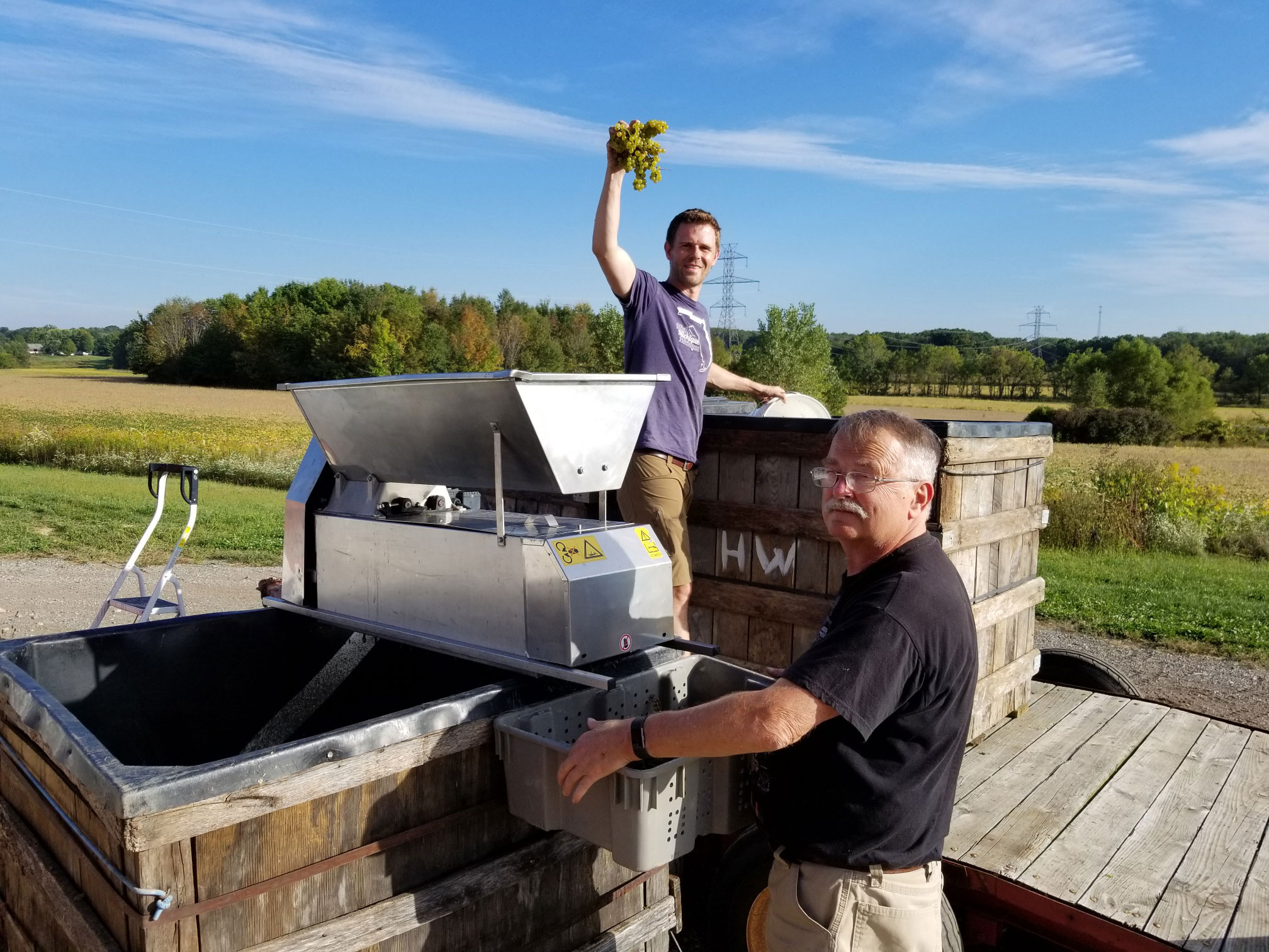 Adam McBride during the Hickory Creek Winery harvest.