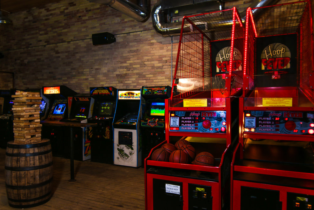 Grand Rapids Brewing Co. game room.