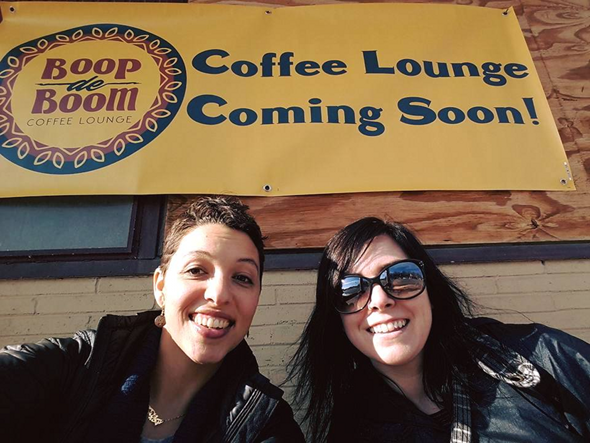 Cailin Kelly, left, Lindsey Ruffin Boop de Boom coffee shop coming soon sign