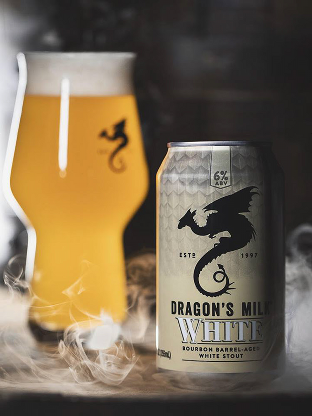 New Holland Brewing Dragon's Milk White stout beer can and glass