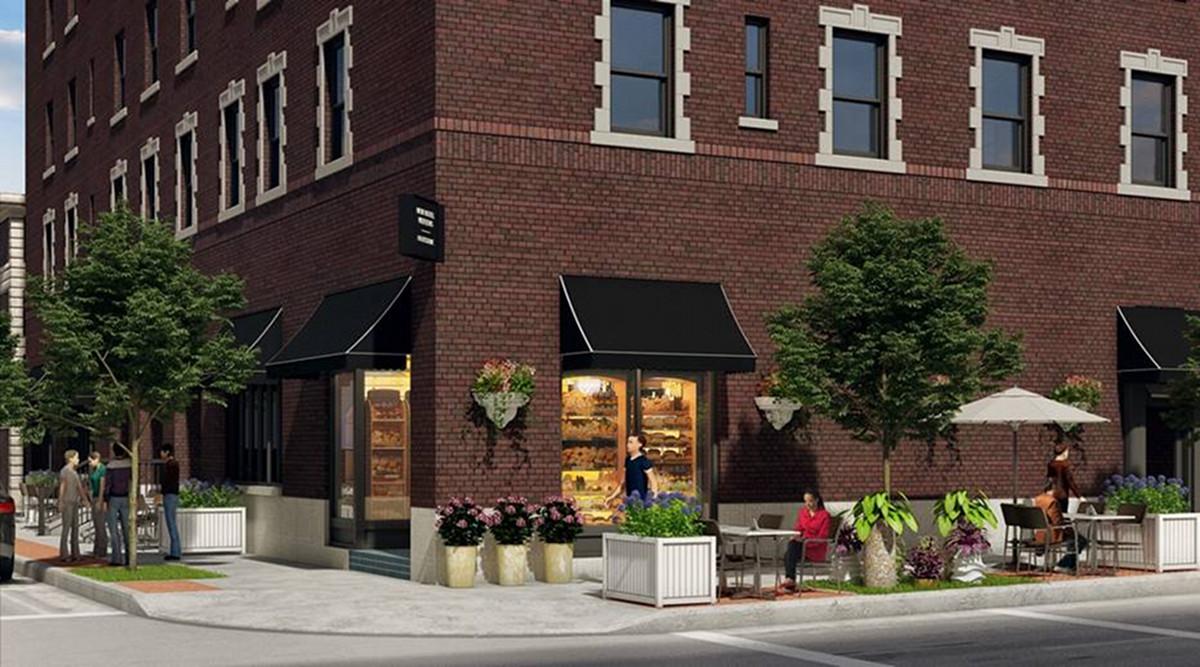 New Hotel Mertens bakery exterior rendering