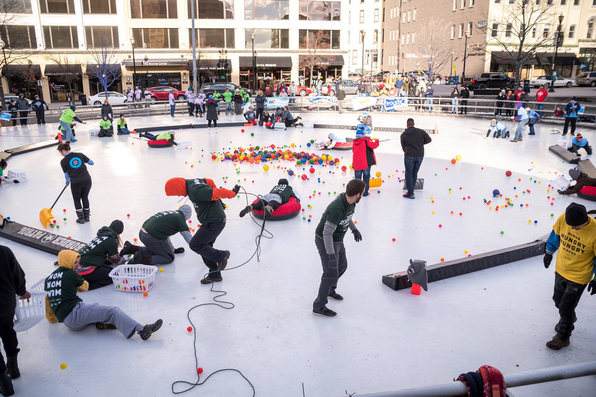 World of Winter downtown Grand Rapids Hungry Hungry Hippos