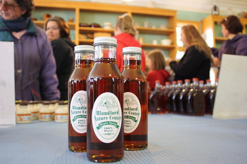 Blandford Nature Center maple syrup bottles