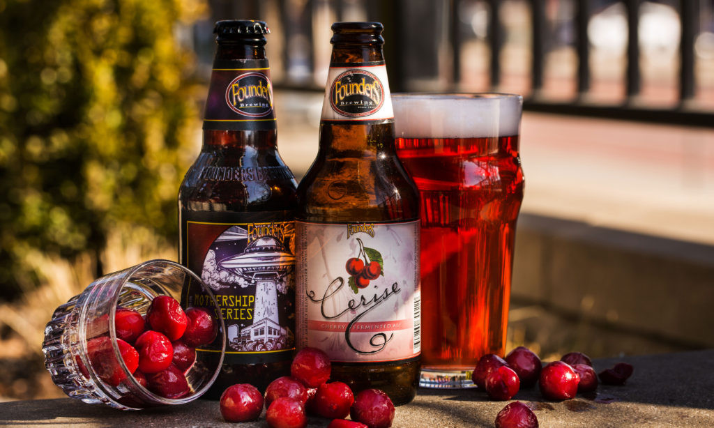 Founders Brewing Co. Cerise cherry beer bottles glass