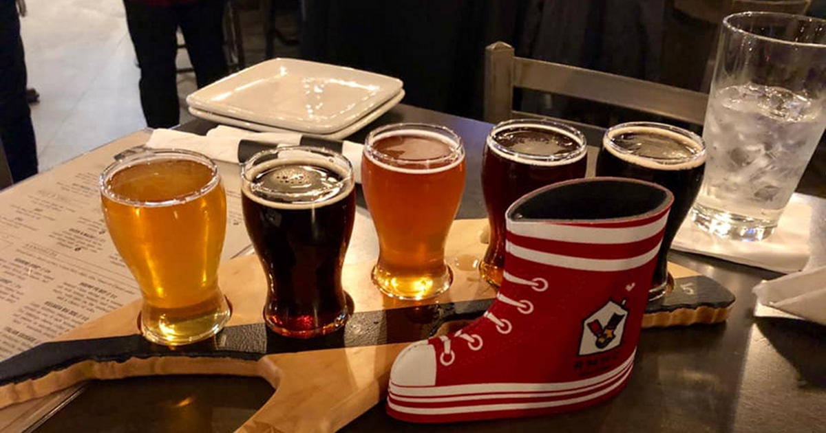 Ludington Bay Brewing Co. beer glass sampler with Red Boot Ale for Ronald McDonald House of Western Michigan