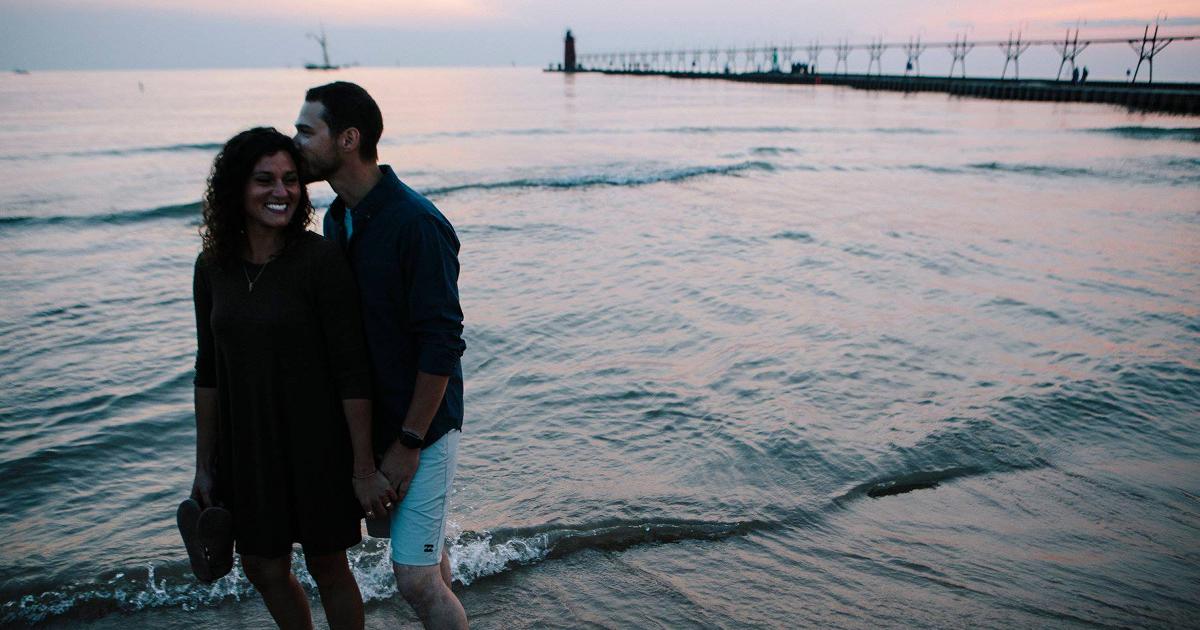South Haven beach pier Lake Michigan couple