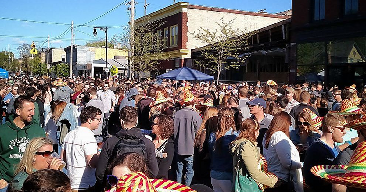 Wealthy Street Cinco de Mayo street party crowd Donkey Taqueria