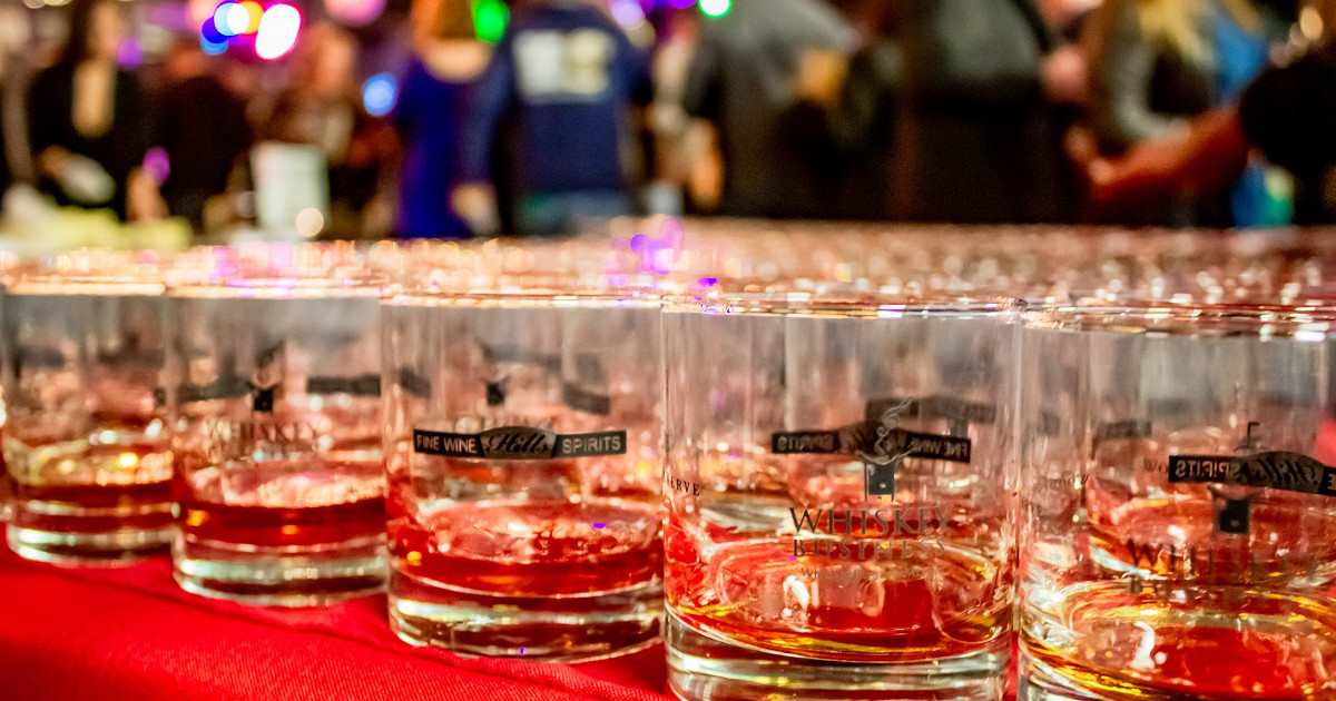 Whiskey Business table of glasses