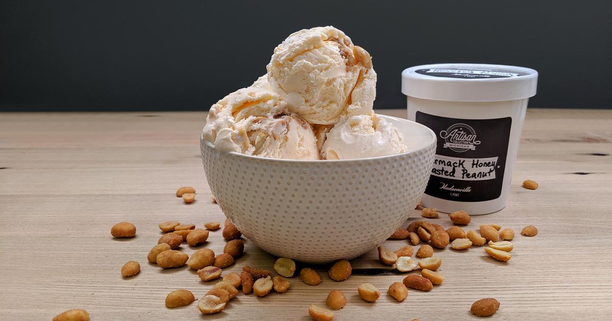 Hudsonville Ice Cream Germack Honey Roasted Peanut bowl pint