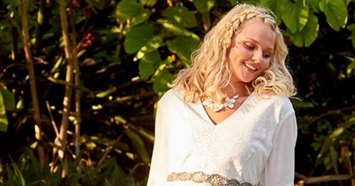A'Beautiful Soul white Helena dress model partial