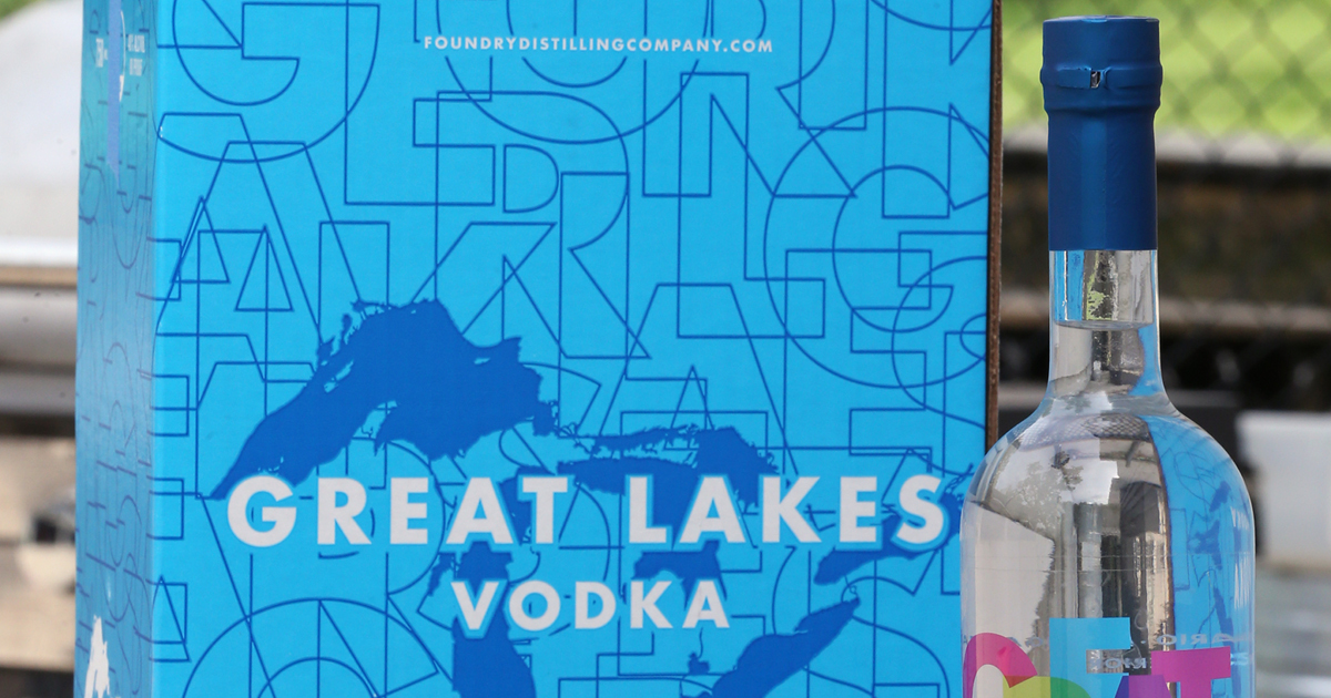 Foundry Distilling Co. Great Lakes Vodka bottle and box
