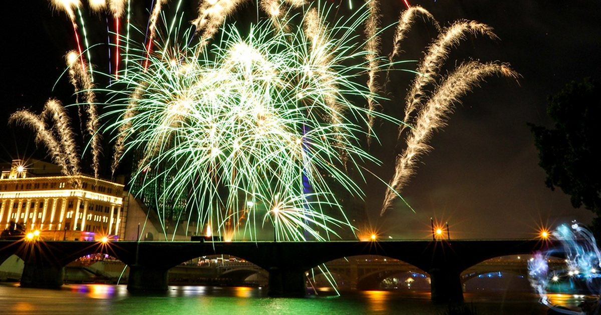 Grand Rapids Fireworks show downtown Grand River