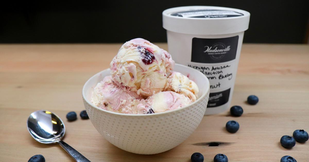Hudsonville Ice Cream Bowerman's Blueberry Donut bowl