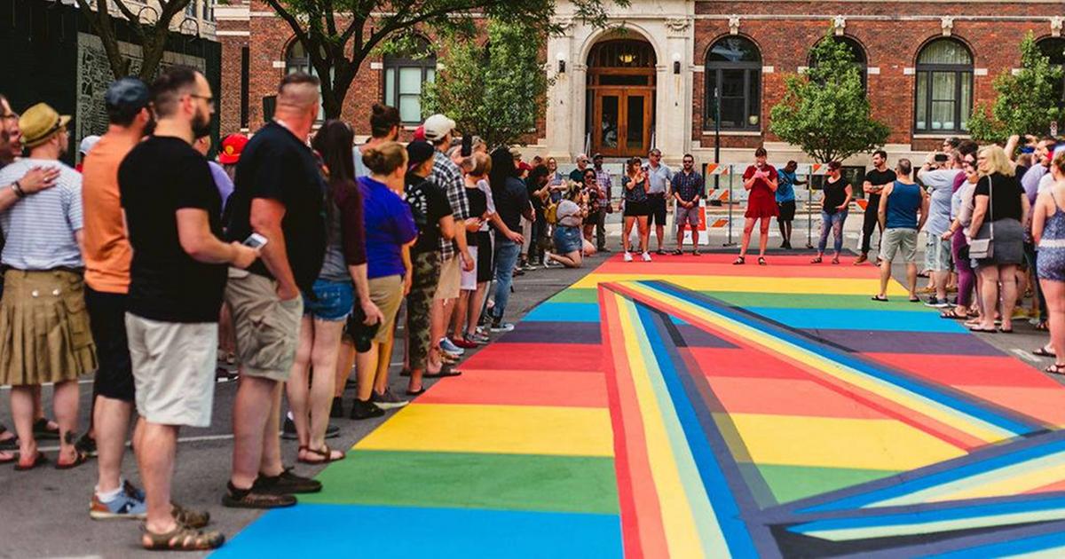 Rainbow Road street mural Grand Rapids Pride Month
