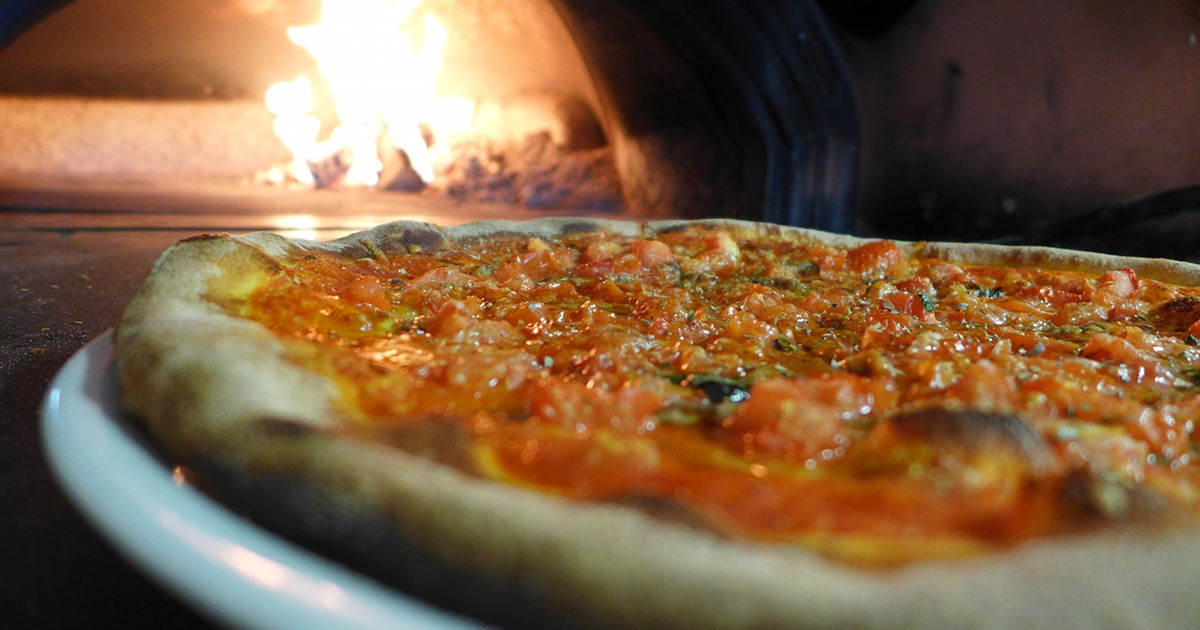 wood-fired pizza and stone oven