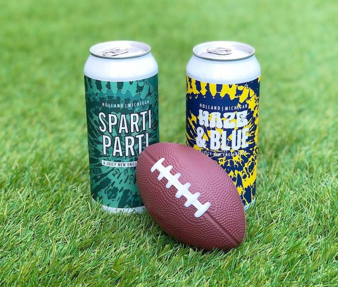 Big Lake Brewing Sparti Parti and Haze & Blue beer cans