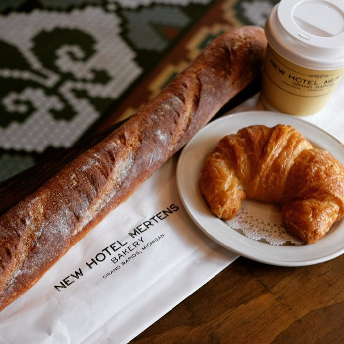 New Hotel Mertens Bakery baguette, croissant and coffee