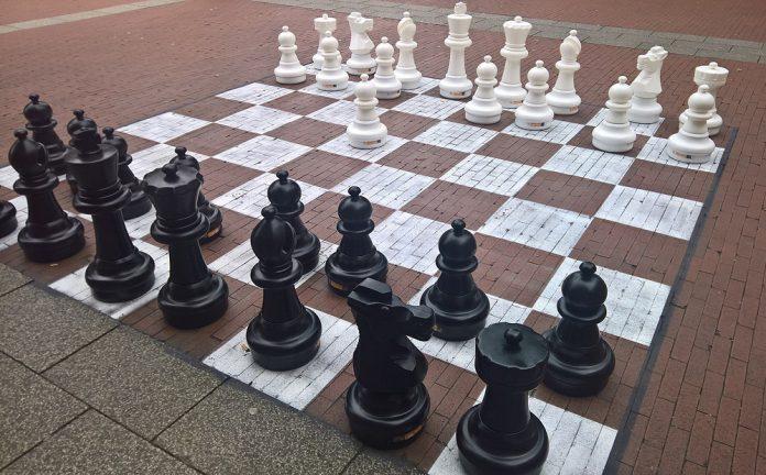 giant chess board outside