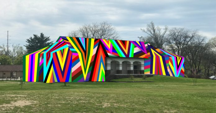 """rendering of Project 1 installation """"Kaleidoscopic"""" at MLK Park by Amanda Browder"""