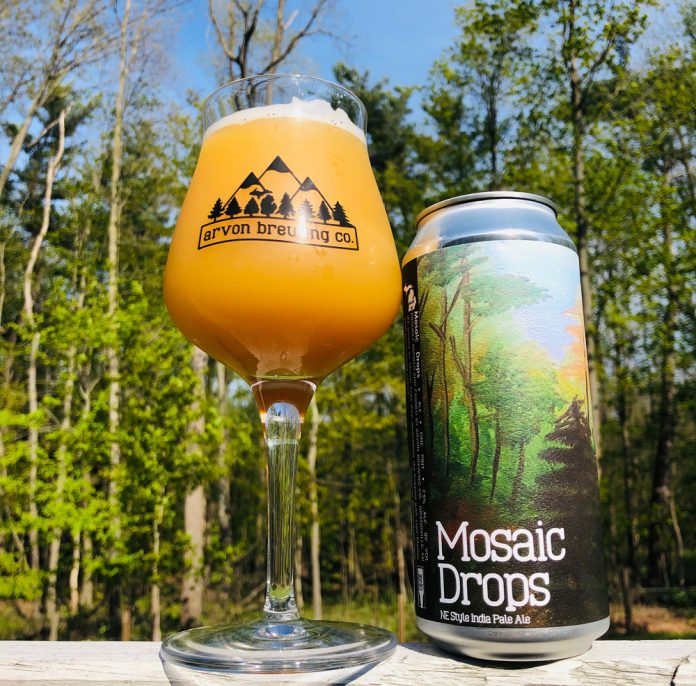 Arvon Brewing Co. Mosaic Drops IPA beer can and glass