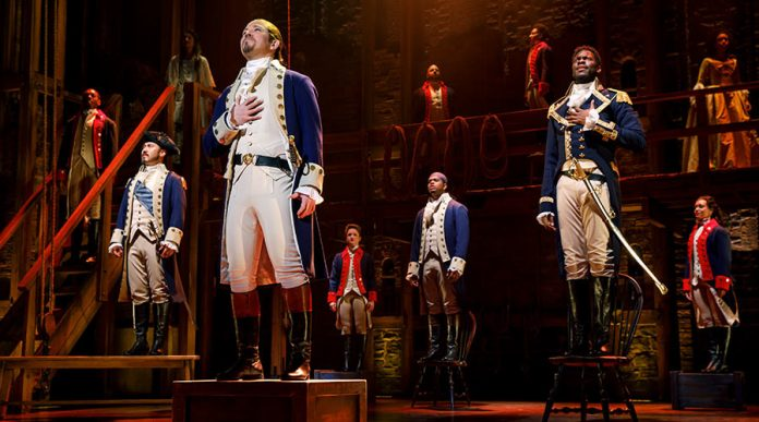 Hamilton musical stage shot Broadway 2019