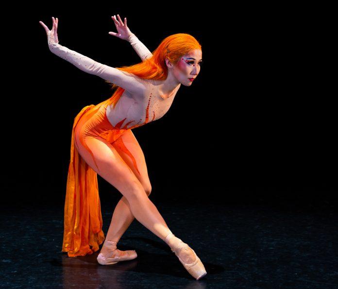 Yuka Oba-Muschiana in Yuri Possokhov's Firebird. Makeup and hair by Erick Gerson. Photo by Damion Van Slyke