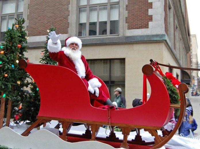 Art Van Santa Parade Santa Claus in sleigh downtown Grand Rapids