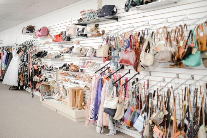 Mel Trotter Ministries thrift store interior purses and women's shoes