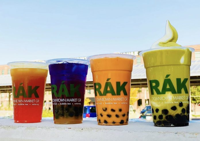 Rak Thai bubble boba tea cups Downtown Market