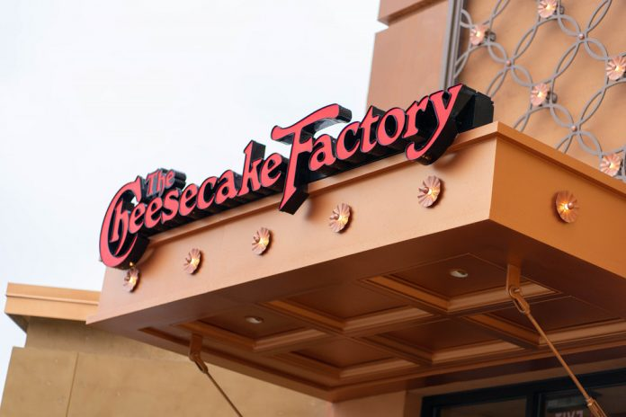The Cheesecake Factory Woodland Mall sign