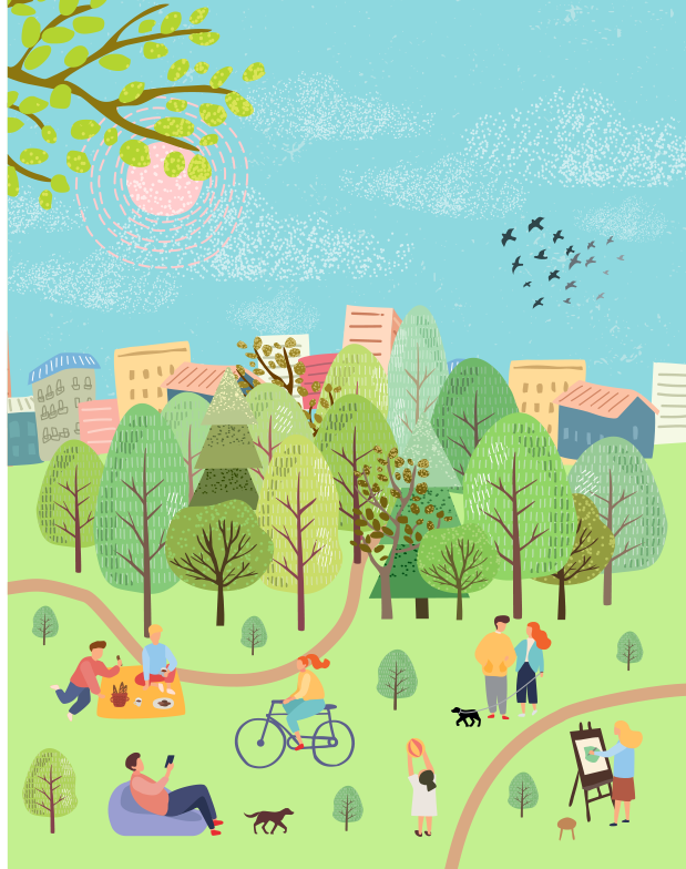 city urban park illustration